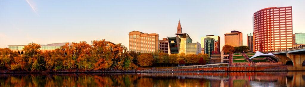 Sunset along the Hartford, Connecticut skyline