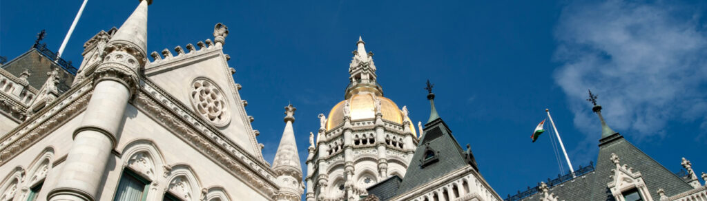 The top of the State Capitol building in Hartford, Connecticut