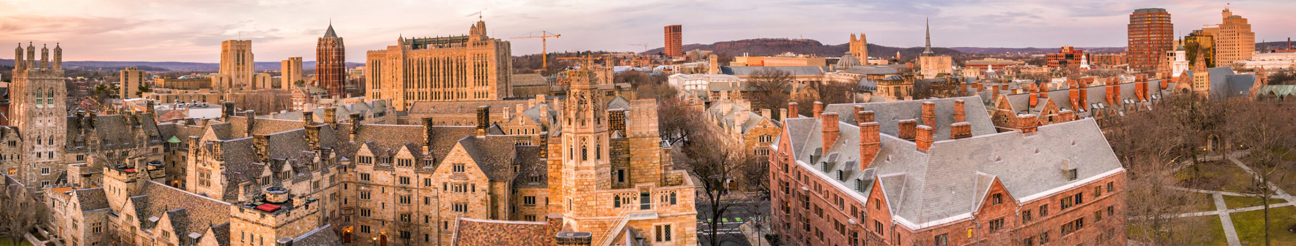 An aerial view of Yale University, New Haven, Campus